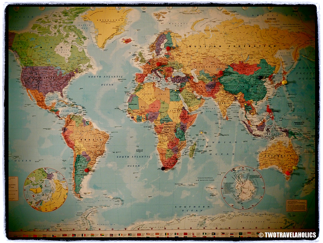 World Map With Pins Two Travelaholics