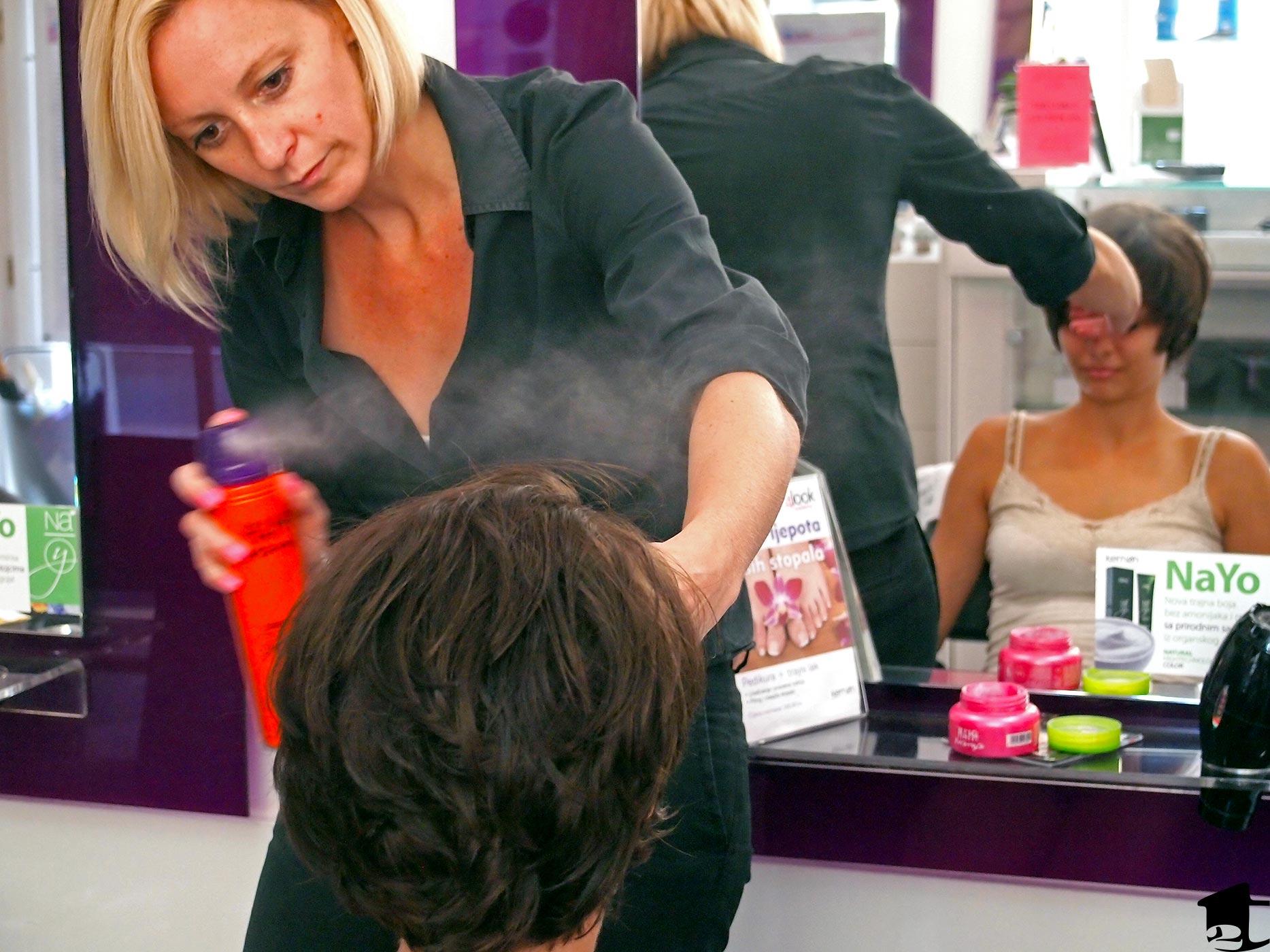 Hairdresser Styling Tara's Hair
