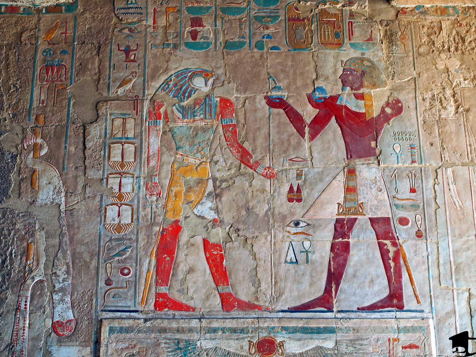 Colorful depictions in the Temple of Hatshepsut