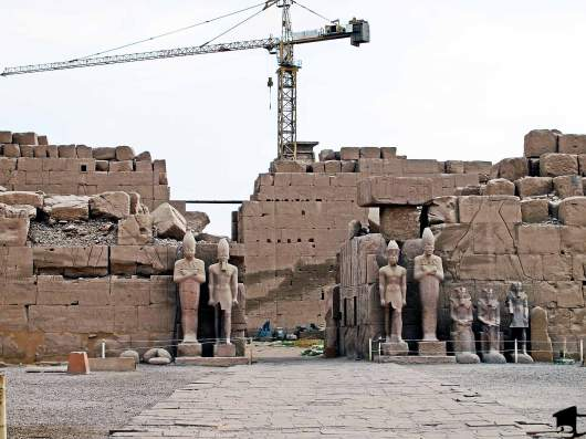 A modern-day crane restoring ancient Karnak