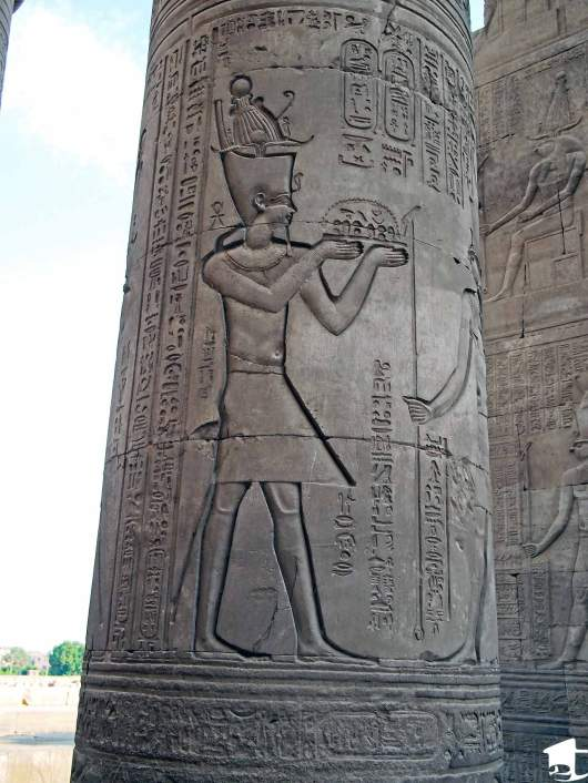 Carving on a pillar at Kom Ombo