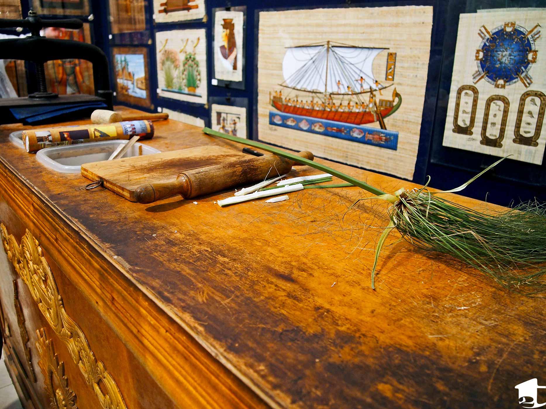 A papyrus paper workshop table