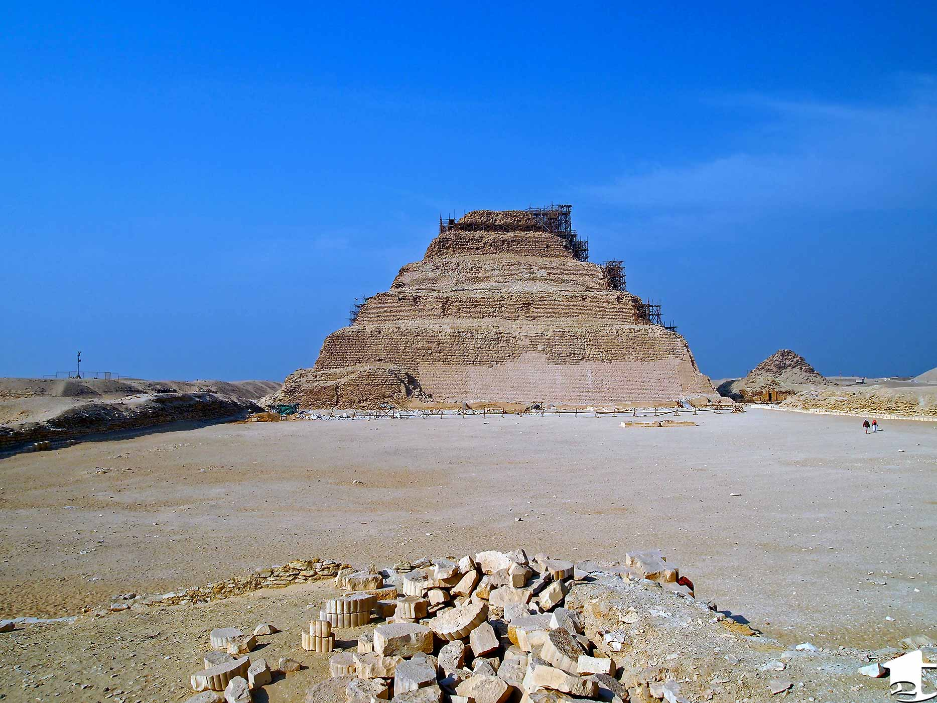 The Step Pyramid, the first pyramid built by the ancient Egyptians.