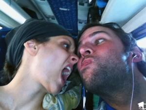Tara & Mike on a bus