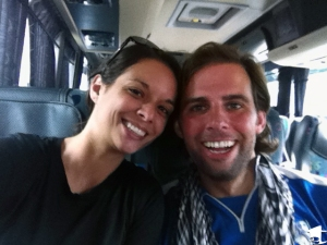 Mike and Tara on a Bus