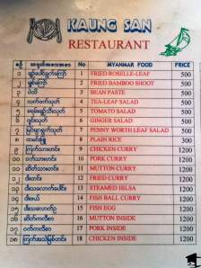 Menu from Kinpun