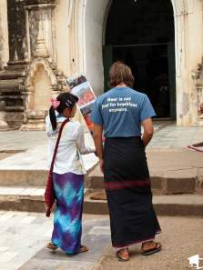Postcard seller in Bagan