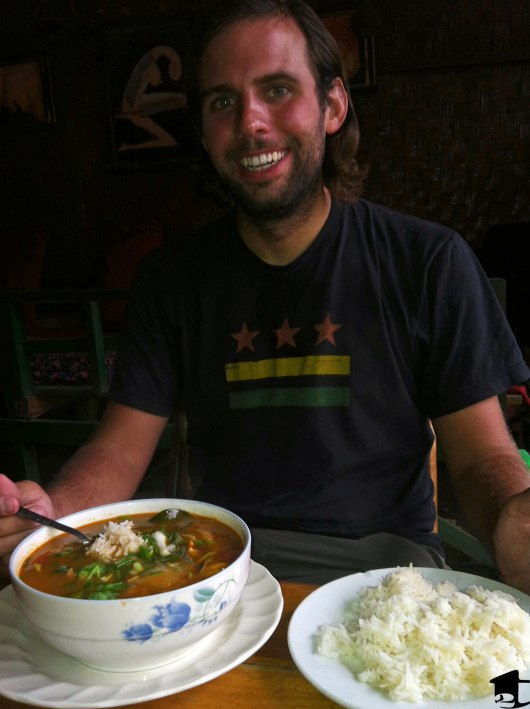 Eating soup in Laos