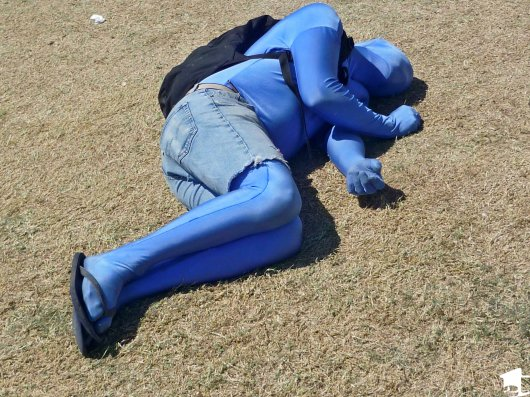 Blue man passed out