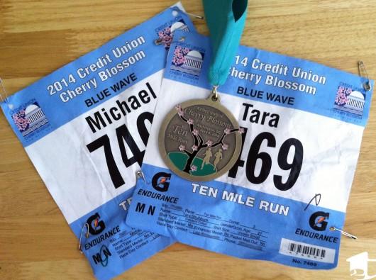Our 10-miler race bibs