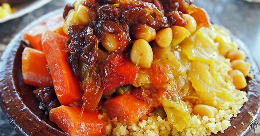 Vegetable Tajine with couscous in Fez, Morocco